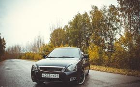 Picture machine, auto, trees, optics, before, auto, LADA, Priora, VAZ, BPAN, Prior, Chuvash Republic