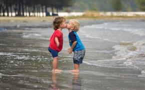 Picture sea, mood, kiss, boy, girl