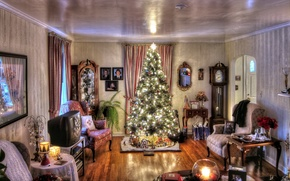 Wallpaper room, furniture, interior, garland, candles, holiday, watch, antique, toys, decoration, lights, house, Tree