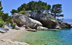 Picture sea, rocks, coast, boats, Croatia