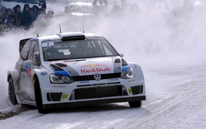 Picture Winter, Auto, White, Snow, Sport, Volkswagen, Machine, Logo, The hood, Skid, Lights, Red Bull, WRC, …