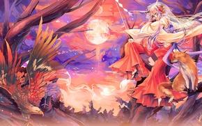 Picture girl, bird, the moon, anime, Fox, eagle, Fox, animals, kitsune