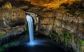 Picture Palouse Falls, Washington, canyon, waterfall, rocks, stones, USA