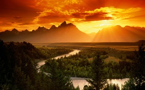 Picture sunset, mountains, river