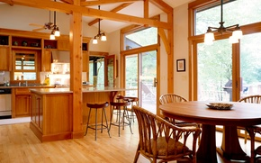 Picture comfort, house, Wallpaper, interior, kitchen, wooden, dining room