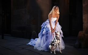 Picture girl, dog, dress, Mary Senn, Ivan Gorokhov
