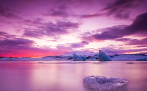 Picture ice, the sky, clouds, sunset, toross
