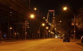 Picture machine, night, the city, lights, street, the evening, lighting, lights, the Ambassador bridge, Ambassador Bridge