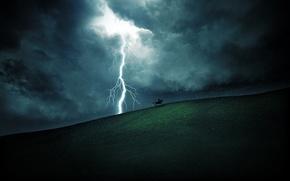 Picture field, the sky, grass, clouds, rain, hills, zipper, lightning, landscapes, horse, field, horse, riders, rains