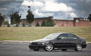 Picture black, bmw, BMW, drives, black, side view, parking, e39