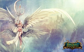 Picture girl, mountains, the city, magic, angel, fantasy, battle, rod, the sun's rays, game wallpapers, immortal, …
