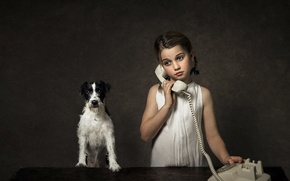 Picture dog, girl, phone