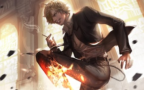 Wallpaper cigarette, smoke, Sanji, chain, guy, One Piece, fire
