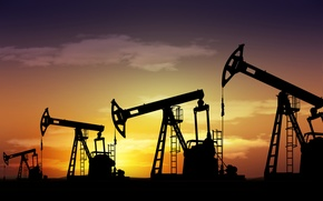 Picture landscape, industry, the evening, silhouettes, oil, travel, wallpaper., my planet, oil, oil industry, pumps, rod, …