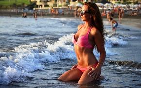 Picture girl, sexy, wet, smile, water, model, beauty, lips, body, bikini, shape, Ludmila Lion