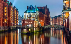 Picture light, bridge, the city, lights, home, the evening, Germany, backlight, channel, Hamburg, the state, Germany, …
