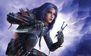 Picture girl, warrior, knives, guild wars