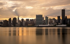 Picture water, sunset, the city, reflection, new York, USA, new york, usa, manhattan