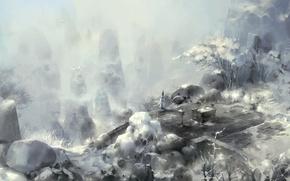 Picture winter, girl, snow, mountains, birds, art, asenliy