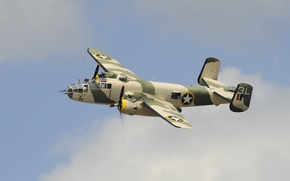Picture B-25, Mitchell, twin-engine, North American, average, American, bomber, flight, the sky