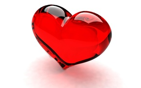 Picture glass, red, heart, transparent