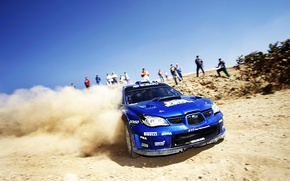 Picture Blue, Dust, Subaru, Impreza, Machine, Skid, Day, WRC, Rally, Rally