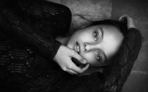Wallpaper portrait, black and white, girl