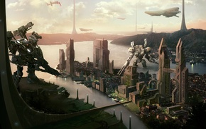 Wallpaper spaceships, future, sci-fi, landscape, fiction, robots, the city