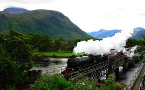 Wallpaper mountains, river, train, Hogwarts Express