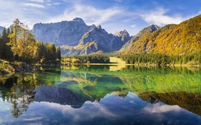 Picture Sunny, lake, reflection, mountains, trees, rocks, forest