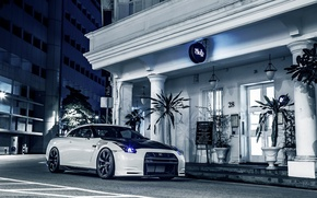 Picture night, the city, lights, tuning, club, Nissan, Nissan, gt-r, the hotel
