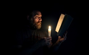 Picture people, candle, book