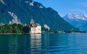 Picture forest, summer, the sky, mountains, lake, castle, houses