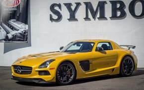 Picture Mercedes-Benz, AMG, Black, SLS, Yellow, Edition