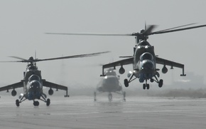 Wallpaper Photo, The rise, Helicopter, The airfield, Mi-35, Helicopters