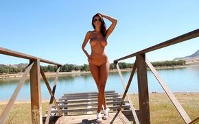 Wallpaper nature, lake, naked, body, figure, glasses, heels, legs, legs, nature, figure, lake, body, naked, glasses, ...