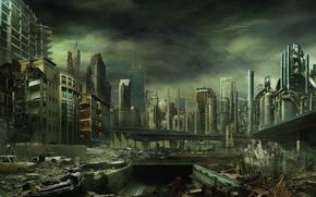 Wallpaper destruction, disaster, the city