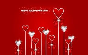Picture heart, diamonds, red, love, bow, heart, romantic, Valentine's Day, Happy, diamonds, Design by Marika
