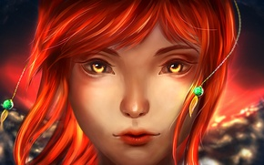 Picture girl, fantasy, Golden eyes