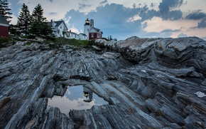 Picture the sky, clouds, reflection, rocks, lighthouse, home, puddles, USA, United States, state, Maine, Bay of …