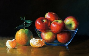 Wallpaper table., picture, art, painting, painting, tangerines, vase, apples