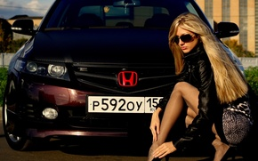 Picture Girls, Blonde, glasses, Beautiful girl, Russian number, sitting on a car Honda