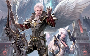 Picture the city, weapons, magic, wings, sword, warrior, lineage, Kamael