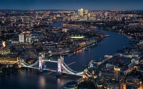 Picture night, Tower Bridge, London, England, Thames River, cityscape, urban scene