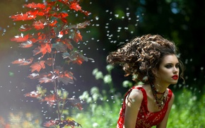 Picture lips, nature, lipstick, autumn, face, hair