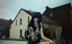 Picture street, tattoo, cigarette, dark-haired girl