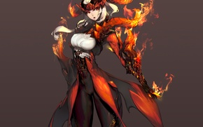 Picture girl, fire, magic, art, horns, helmet, armor, blade & soul, kim hyung-tae