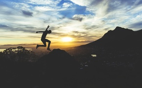 Picture clouds, sunset, mountains, nature, people, Sunrise, adventure, jumping