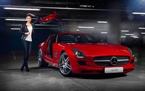 Picture Mercedes-Benz, Girl, Red, AMG, SLS, Beauty, Supercar, Door, Elmira Abdrazakova