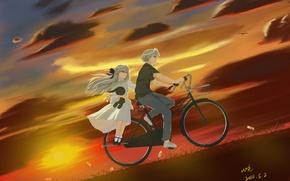 Picture the sky, girl, clouds, sunset, bike, anime, art, guy, kasugano sora, yosuga no sora, kasugano …